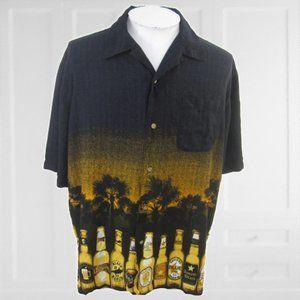 George Men Hawaiian camp shirt XL vintage BEER